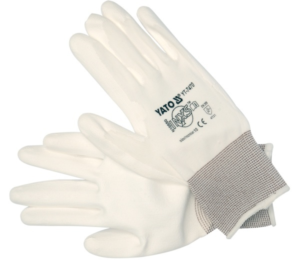 Yato Rękawice robocze nylonowe pu białe 10'' (YT-7470) 1