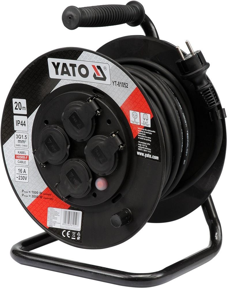 Yato Przedłużacz bębnowy 20m/4 gniazda 230v H05RR-F 3x1,5m2 (YT-81052) 1
