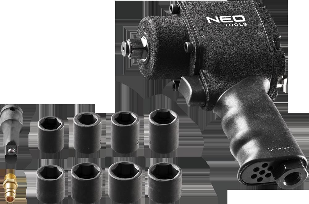 """NEO Klucz udarowy pneumatyczny 1/2"""" 675Nm + nasadki (12-022) 1"""