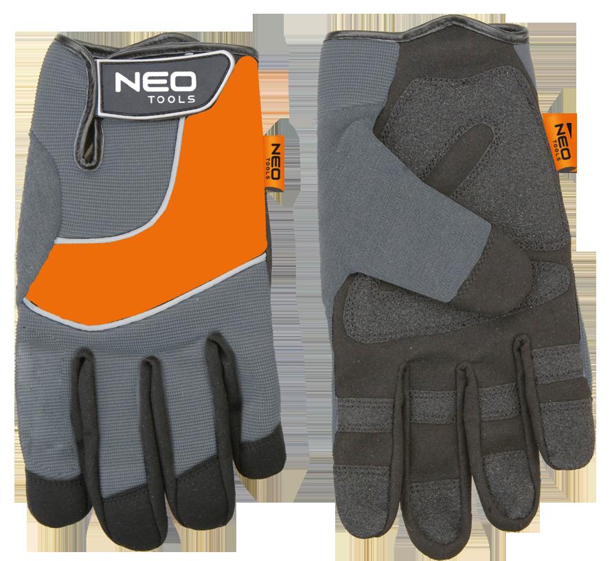 """NEO Rękawice robocze skóra syntetyczna wstawki PCV r.10"""" (97-605) 1"""