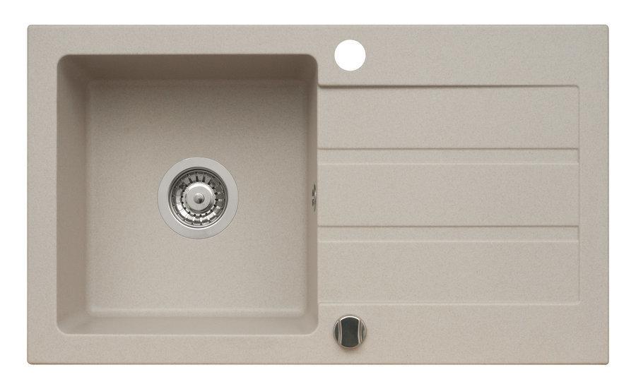 Onnline Zlewozmywak 1-komorowy z ociekaczem 76x44cm granitowy beżowy - 12178141 1