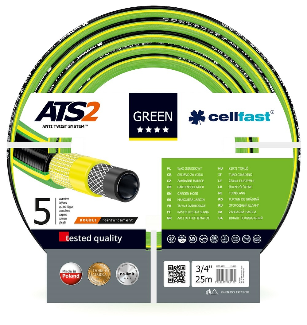 """Cellfast Wąż ogrodowy Green 3/4"""" 25m (15-120) 1"""