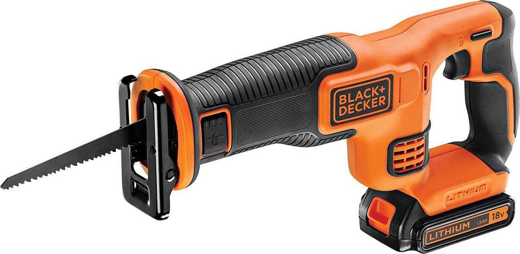 Black&Decker System 18V (Pilarka szablowa 18V, akum. Li-Ion 1.5Ah, 0-3000 suw/min, dł.skoku brzeszczotu 22mm, beznarz. wymiana brzeszczotu, brzeszczot 15cm 6TPI, ładowarka 400mA) - BDCR18-QW 1
