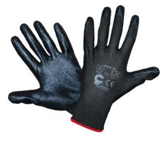Rękawice nylonowe powlekane nitrylem r446 czarne rozmiar 9 1