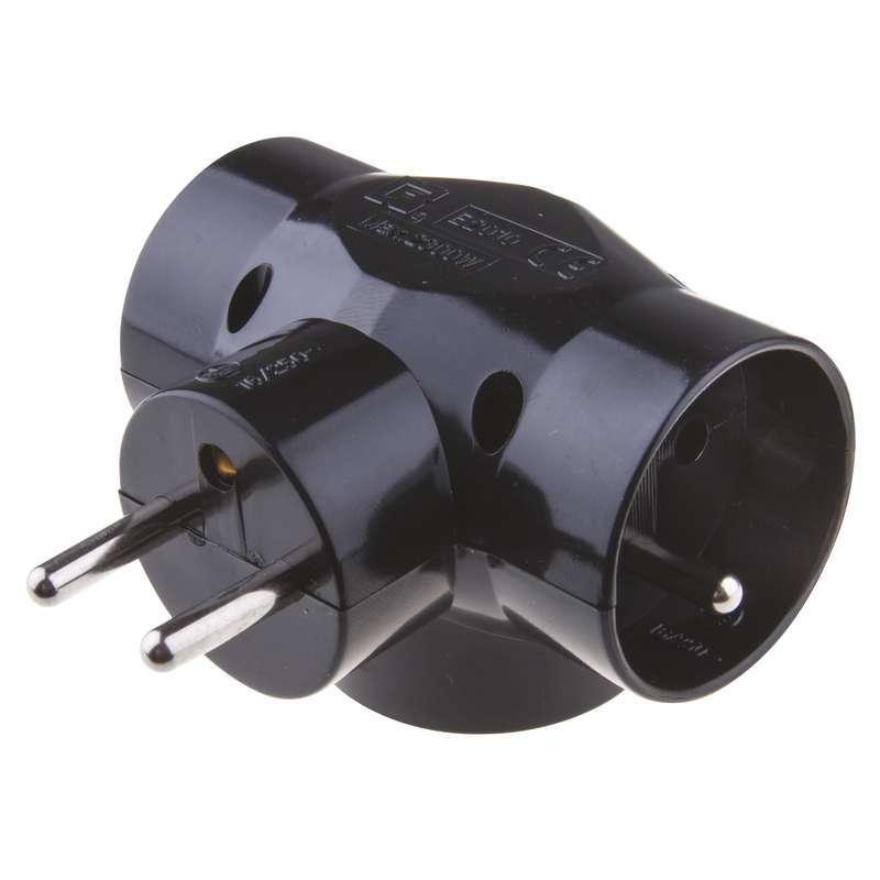 Emos Rozgałęźnik E2010 3 gniazda okrągłe czarny - 1905030050 1