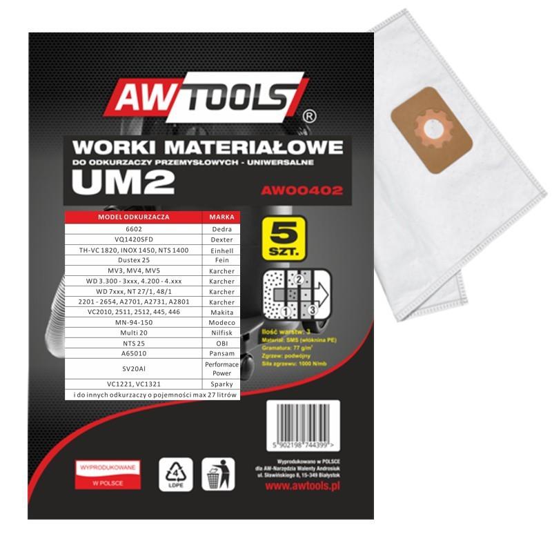 Worek do odkurzacza AWTools z mikrowłókniny UM2 MAKITA VC2010/2511/2512/445/446 5szt. (AW00402) 1