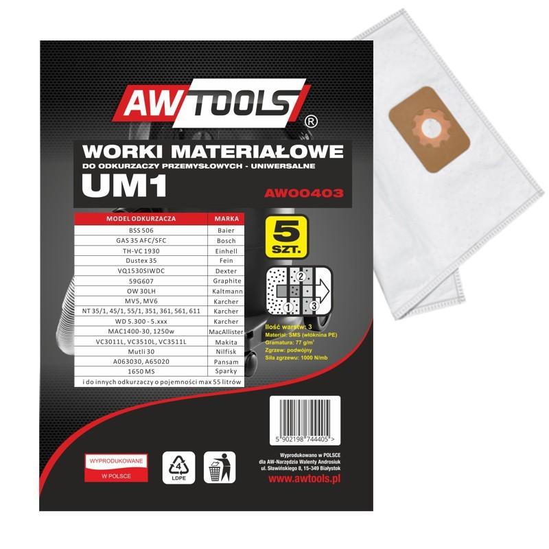 Worek do odkurzacza AWTools z mikrowłókniny UM1 GAS35/VC3011L/VC3510L/VC3511L 5szt. (AW00403) 1