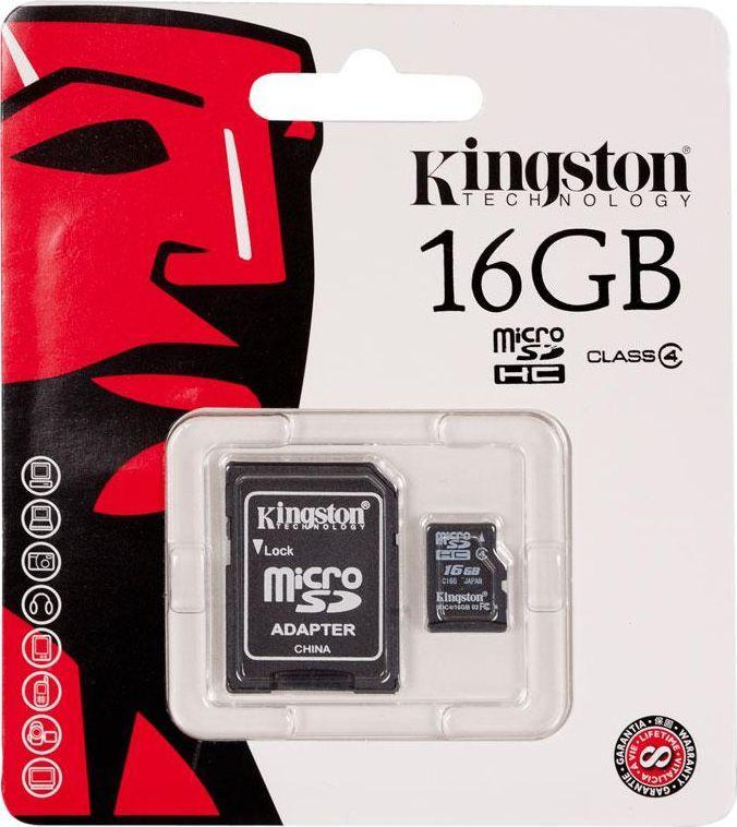 Karta Kingston MicroSDHC 16 GB Class 4  (SDC416GBSP) 1