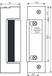 Łucznik Elektrozaczep symetryczny NC podstawowy 1410-12AC/DC (19814-1201) 1