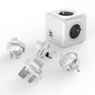 PowerCube Rozgałęźnik ReWirable USB + 4 wtyczki Travel Plugs szary 1