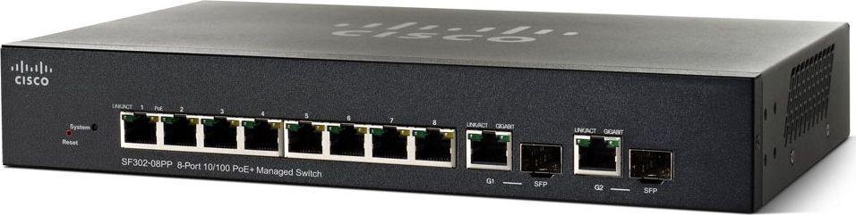 Switch Cisco SF302-08 8x 10/100 Mbps (SRW208G-K9-G5) 1