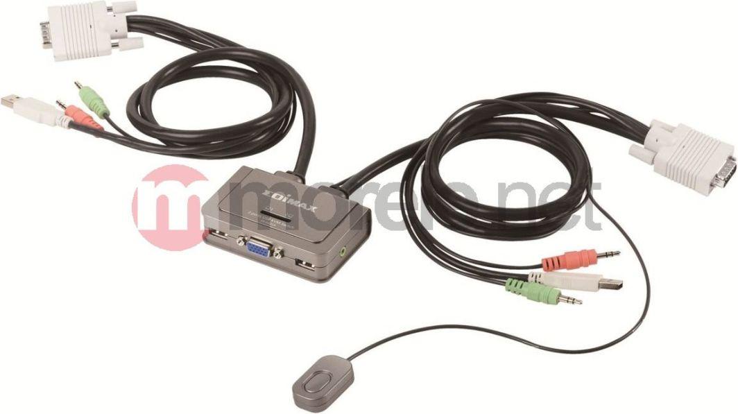 Przełącznik EdiMax (EK-2U2CA) Przełącznik KVM 2xUSB, Audio, Mic, zintegrowane kable 1