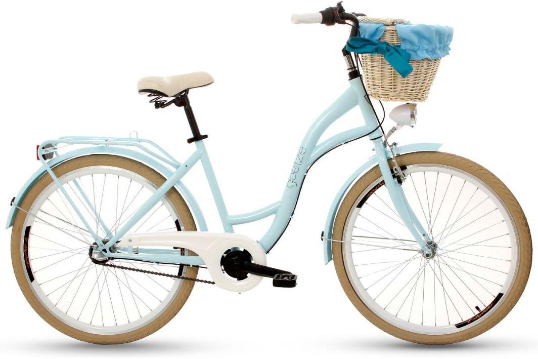 Goetze Rower miejski COLOURS 26'' trzybiegowy niebieski z wiklinowym koszem 1