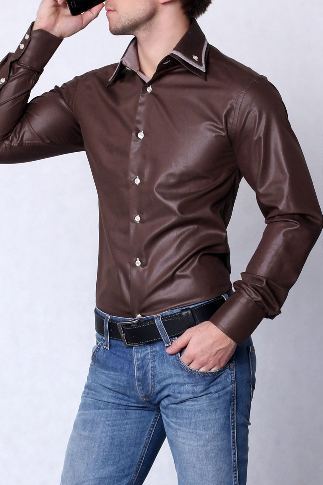 HIGHNESS Koszula męska slim fit połysk brązowy L 3612 s