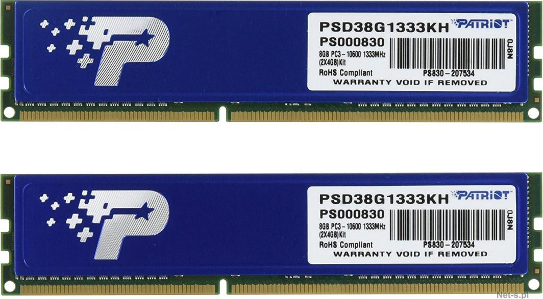 Pamięć Patriot Signature, DDR3, 8 GB, 1333MHz, CL9 (PSD38G1333KH) 1