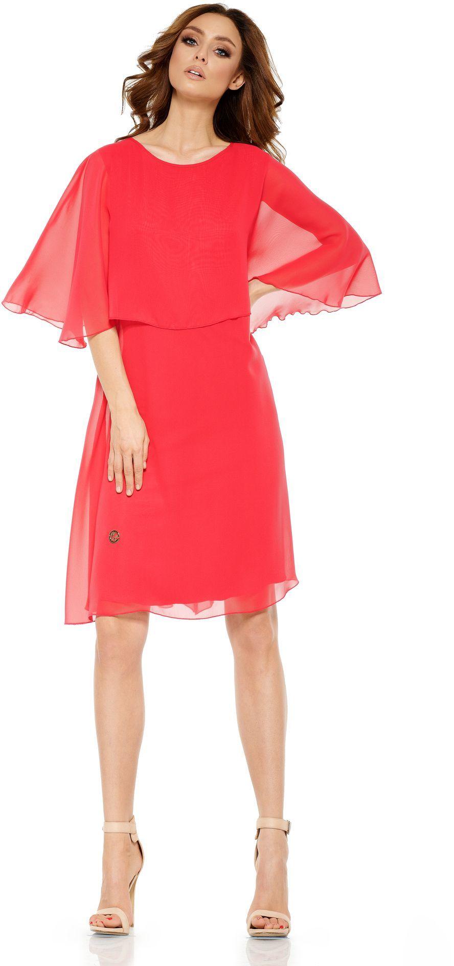 Lemoniade Szyfonowa sukienka z narzutką L261 malinowa r. L 1