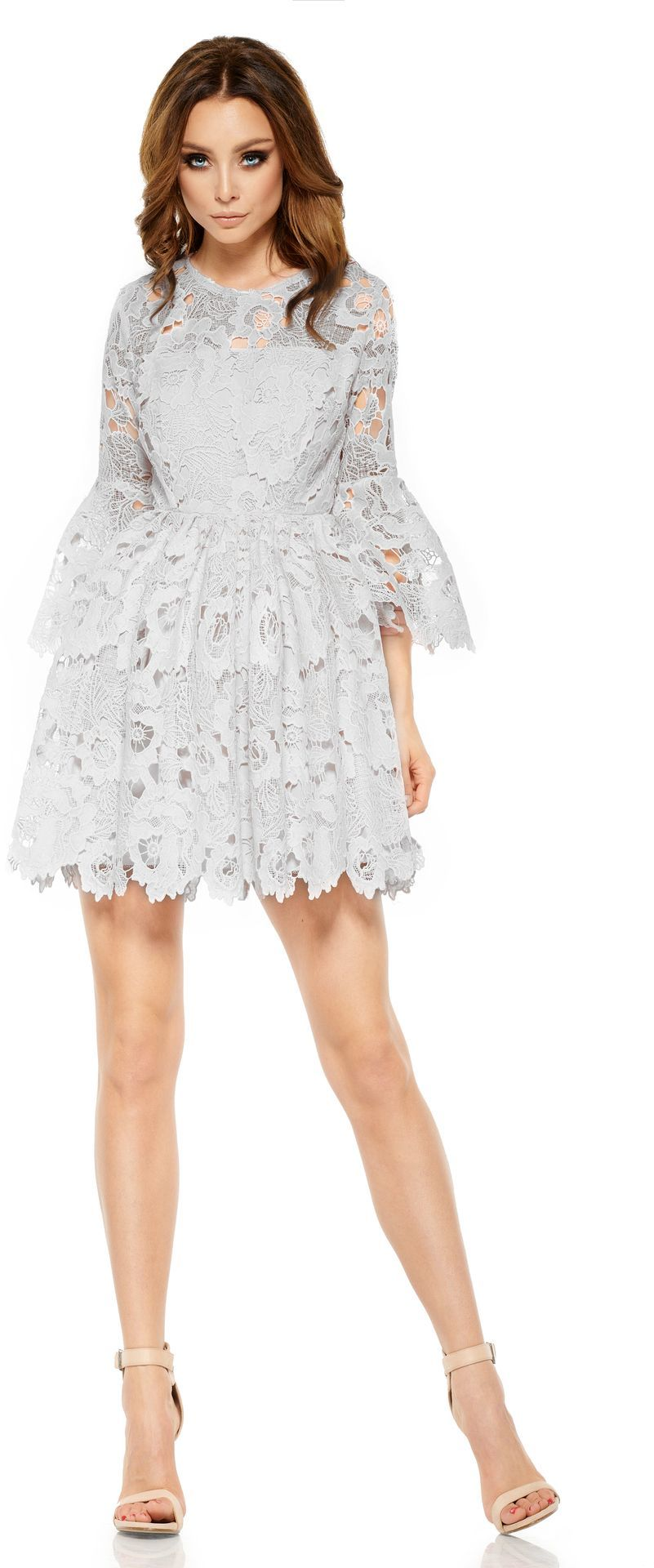 Lemoniade Romantyczna sukienka z koronki L262 jasnoszara r. S 1
