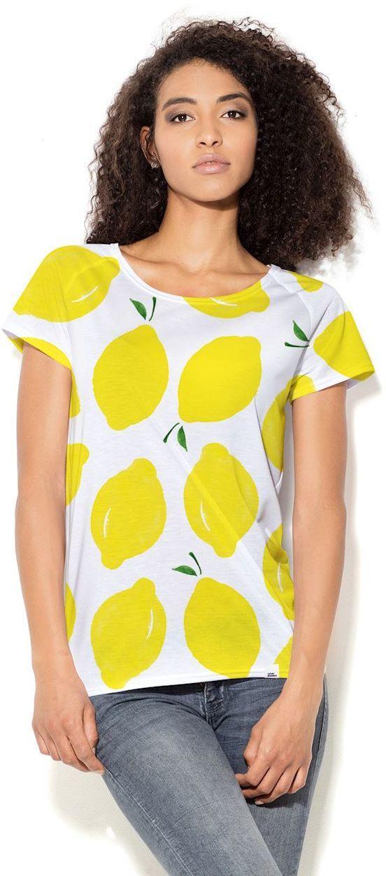 2d2b233d67 Colour Pleasure Koszulka damska CP-034 65 biało-żółta r. XS-S w  Sklep-presto.pl