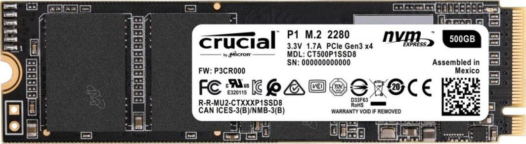 Dysk SSD Crucial P1 500 GB M.2 2280 PCI-E x4 Gen3 NVMe (CT500P1SSD8) 1
