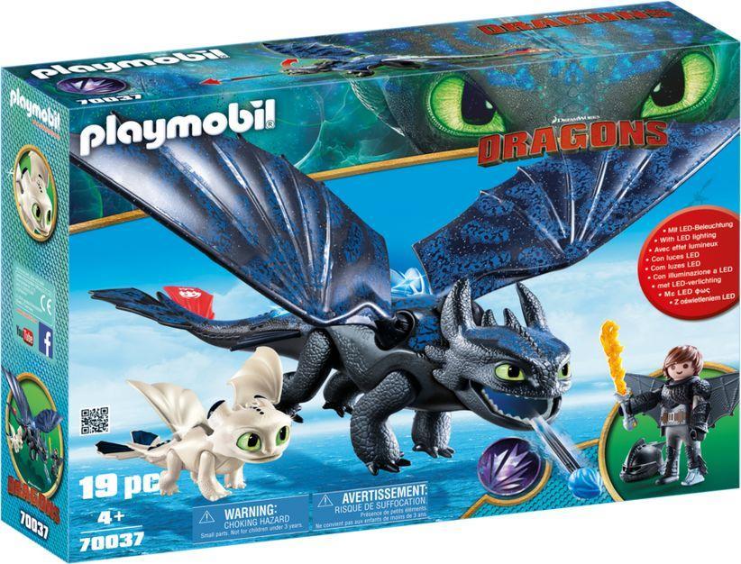 Playmobil Dragons Szczerbatek i Czkawka z małym smokiem (70037) 1