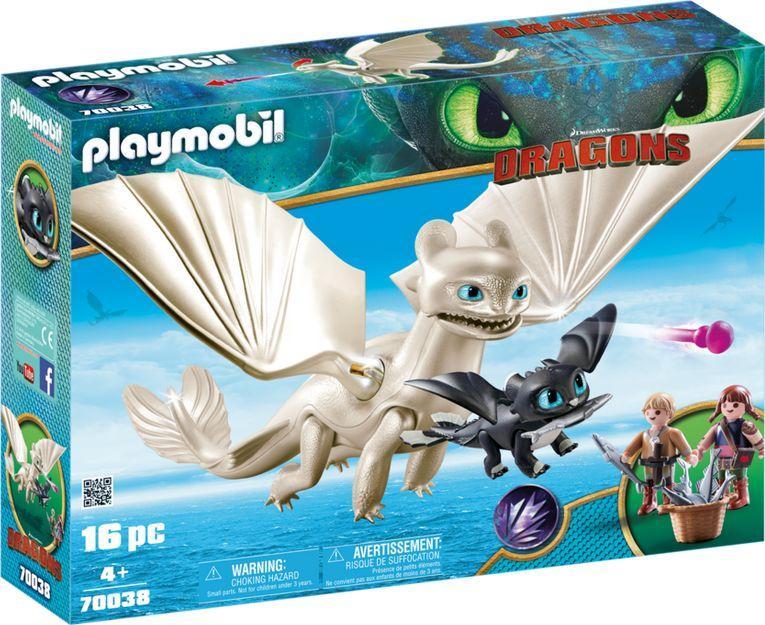 Playmobil Dragons Biała Furia z małym smokiem i dziećmi (70038) 1
