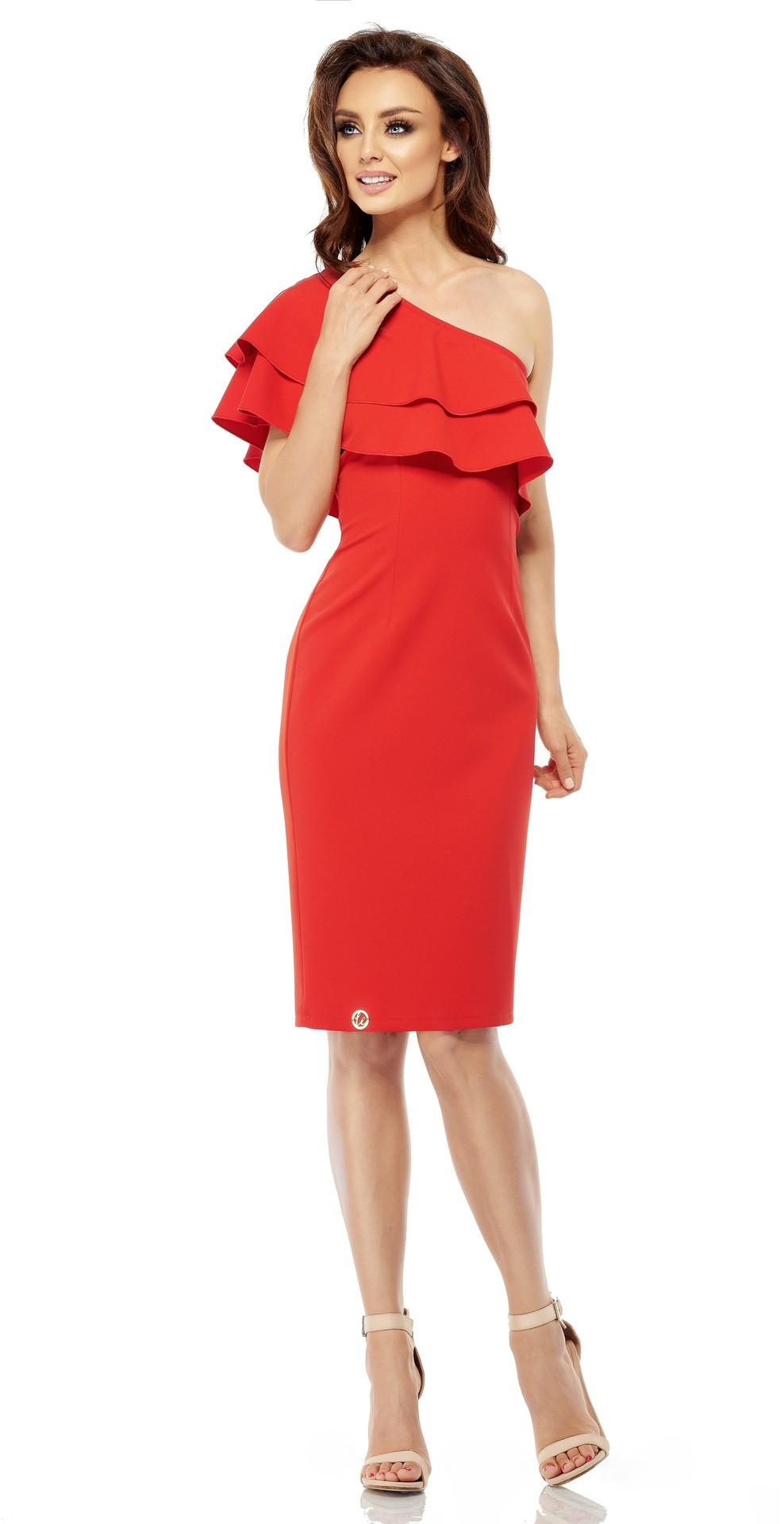 Lemoniade Olśniewająca sukienka na jedno ramię L254 czerwona r. L 1