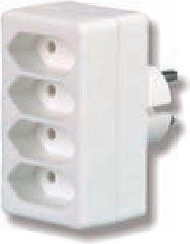 Düwi Rozgałęźnik wtyczkowy 4xEuro biały (R-4) 1