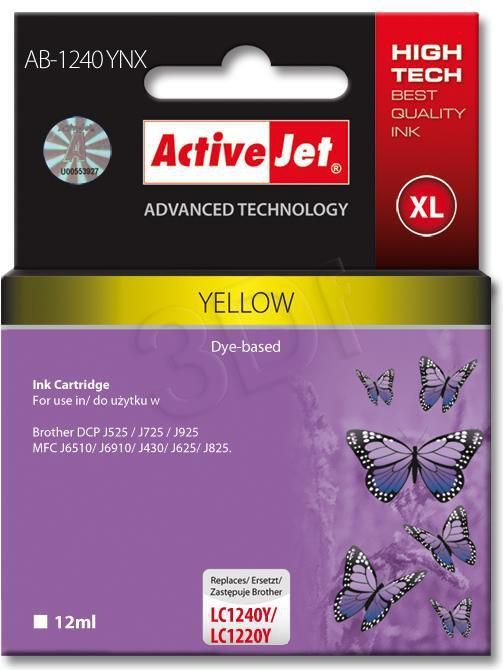 Activejet tusz AB-1240YNX / LC-1240Y (yellow) 1