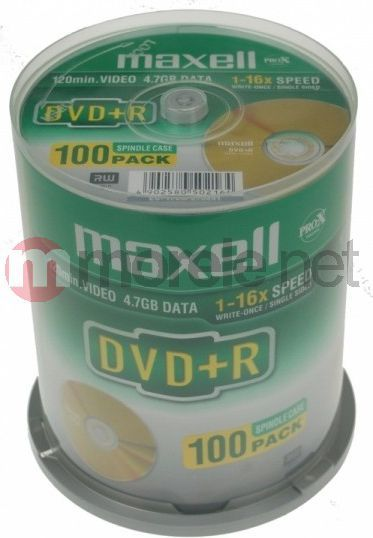Maxell DVD+R 4.7 GB 16x 100 sztuk (275641.30.GB) 1