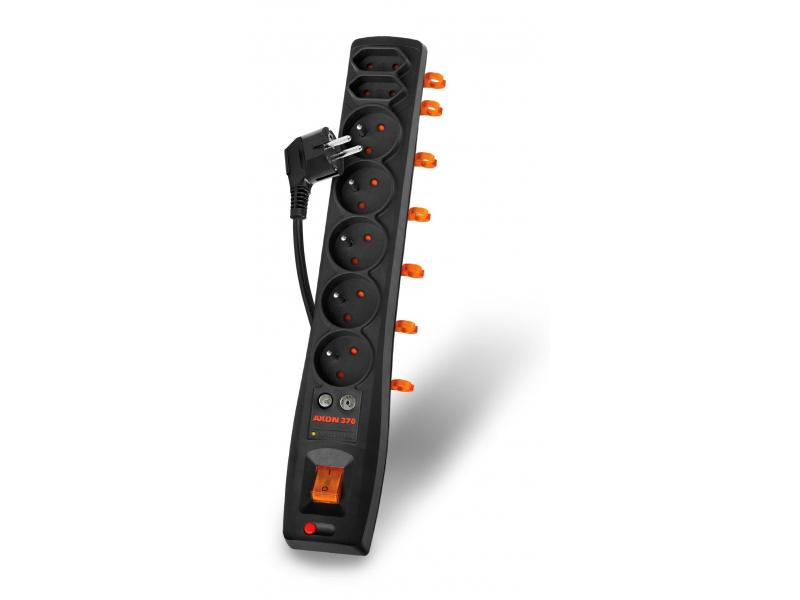 Listwa zasilająca Acar AXON 370 DVB-T przeciwprzepięciowa 7 gniazd 1.5 m czarna (ALPAXON370DVBT0N) 1
