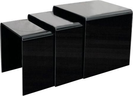 King Home Zestaw stolików szklanych PRIAM TRIO czarny - szkło lakierowane 1