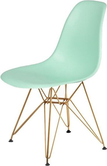 King Home Krzesło DSR GOLD pastelowa mięta.14 - podstawa metalowa złota 1