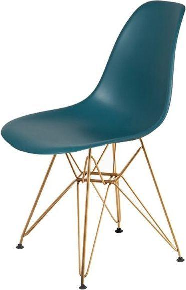 King Home Krzesło DSR GOLD marynarski niebieski.23 - podstawa metalowa złota 1