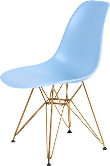 King Home Krzesło DSR GOLD jasny niebieski.12 - podstawa metalowa złota 1