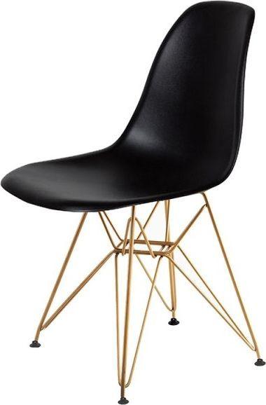 King Home Krzesło DSR GOLD czarne.03 - podstawa metalowa złota 1