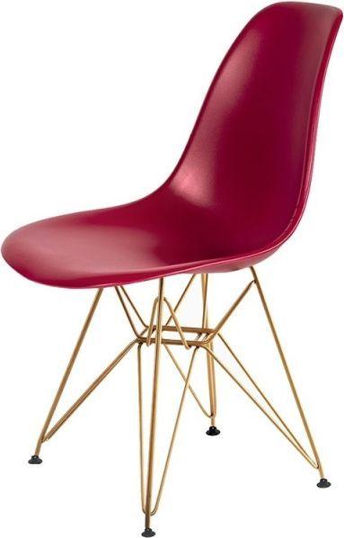 King Home Krzesło DSR GOLD bordowy.36 - podstawa metalowa złota 1