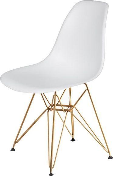 King Home Krzesło DSR GOLD białe.01 - podstawa metalowa złota 1