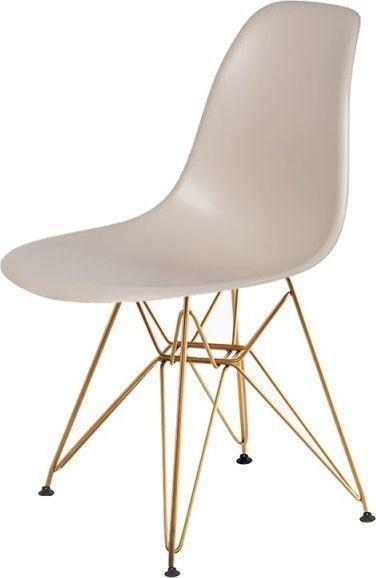 King Home Krzesło DSR GOLD beżowy.18 - podstawa metalowa złota 1