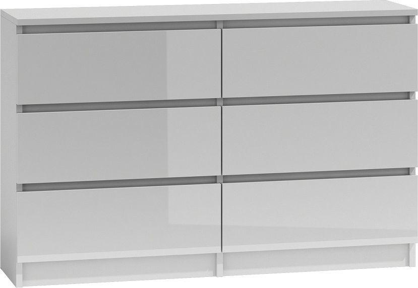 TopEshop Komoda 120 szafka biały wysoki połysk lakier front 1