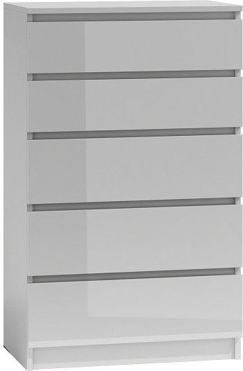 TopEshop Komoda 5 szafka biały wysoki połysk lakier front 1