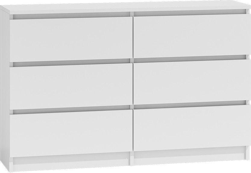 TopEshop Komoda 120cm szafka 6 szuflad malwa m6 biała 1