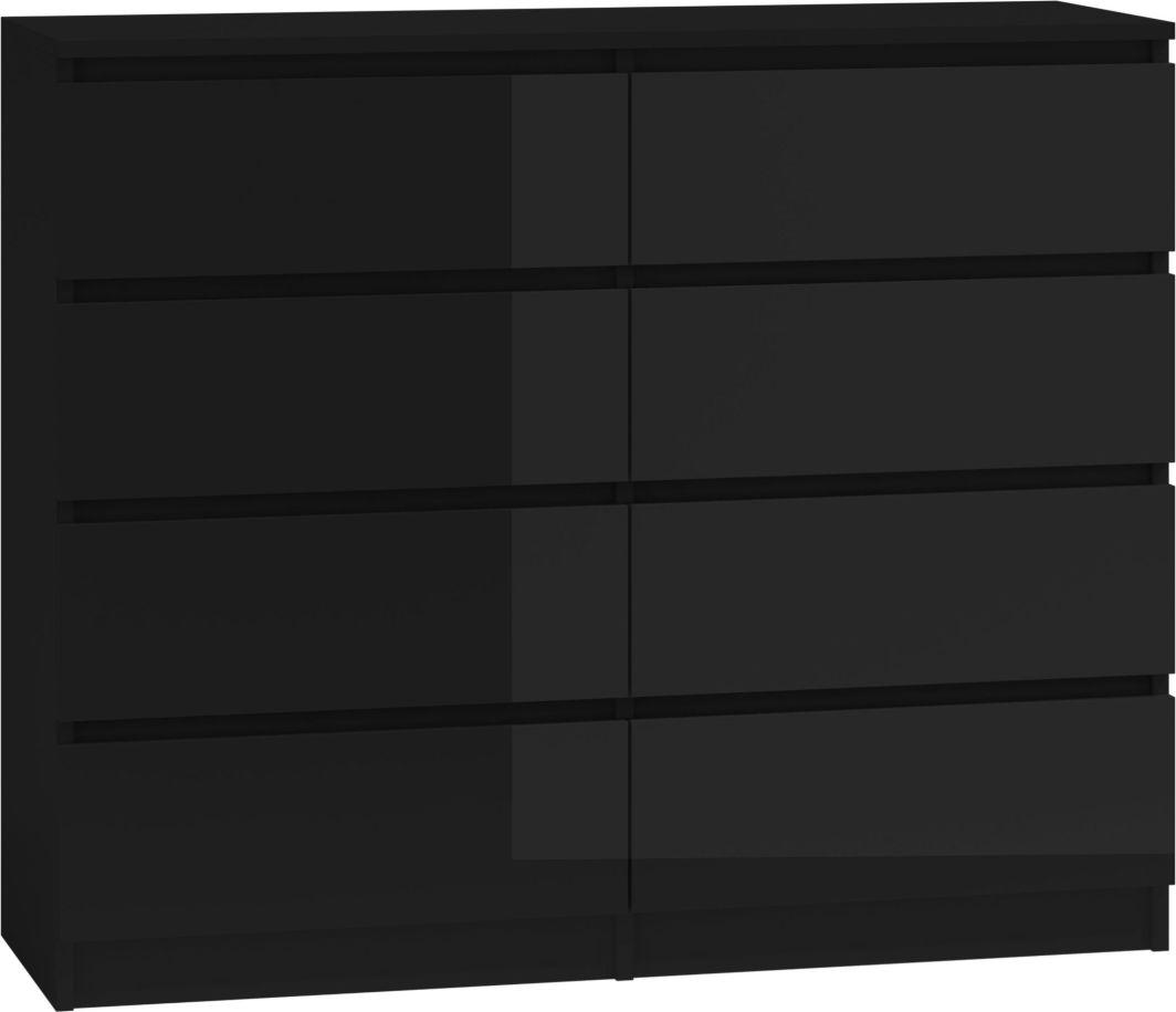 TopEshop Duża komoda szafka 8 szuflad 120cm * czarny połysk 1