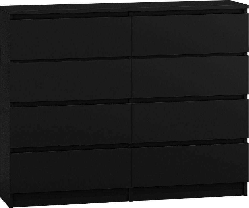 TopEshop Nowoczesna duża komoda na 8 szuflad m8 120 czerń 1