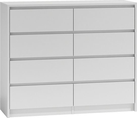 TopEshop Duża komoda szafka 8 szuflad 120cm biała karo k8 1