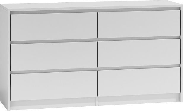 TopEshop Duża komoda szafka 6 szuflad 140cm biała karo k140 1