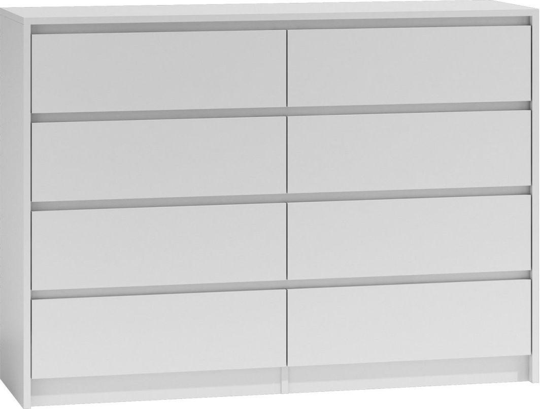 TopEshop Duża komoda szafka 8 szuflad 140cm biała karo k8 1