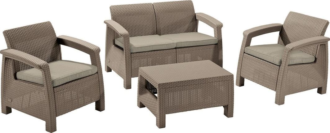 Allibert Meble Ogrodowe Curver Corfu Set Zestaw Sofa Dwa Fotele Stolik Cappuccino Piaskowy Id Produktu 4581839