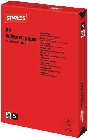 Staples Papier ksero Intensive Colours A4 160g czerwony 250 arkuszy 1