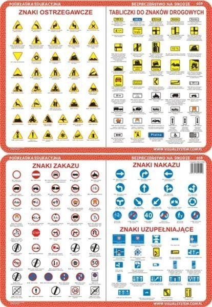 Podkładka edukacyjna. Znaki zakazu, nakazu, uzupełniające, ostrzegawcze, tabliczki 1