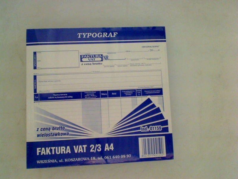 Typograf Druki samokopiujące faktura vat brutto 2/3, a4 80 (01159) 1